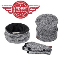 Smart Phone Gloves Warm Cotton 3 pcs Men Women Winter Soft Scarf Hat Mit... - $19.81 CAD