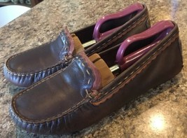 CLARKS Artisan Womens Brown Leather Driving Moc Shoes Scallop SIZE 7.5 - $25.51