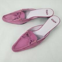 Ann Klein GO Womens Heels Sz 9 Suede Pink Top Sider Slides Pointy Toe Bow Pumps - $36.27