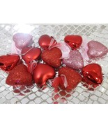 """Valentines Day Red Glitter Shiny Hearts 2"""" Ornaments Decorations Set of 12 - $17.99"""
