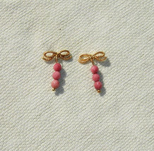 Pink Rhodonite Gemstone & Bow Drop Earrings - Handmade Jewelry - $11.99
