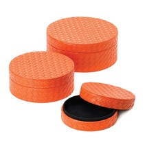 *15407B  Orange Faux Leather Lined Jewelry Box Set of 3 - €19,07 EUR