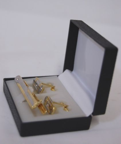 Cuff Link Set With Matching Tie Clip Gold Silver Color Diamond like Gems