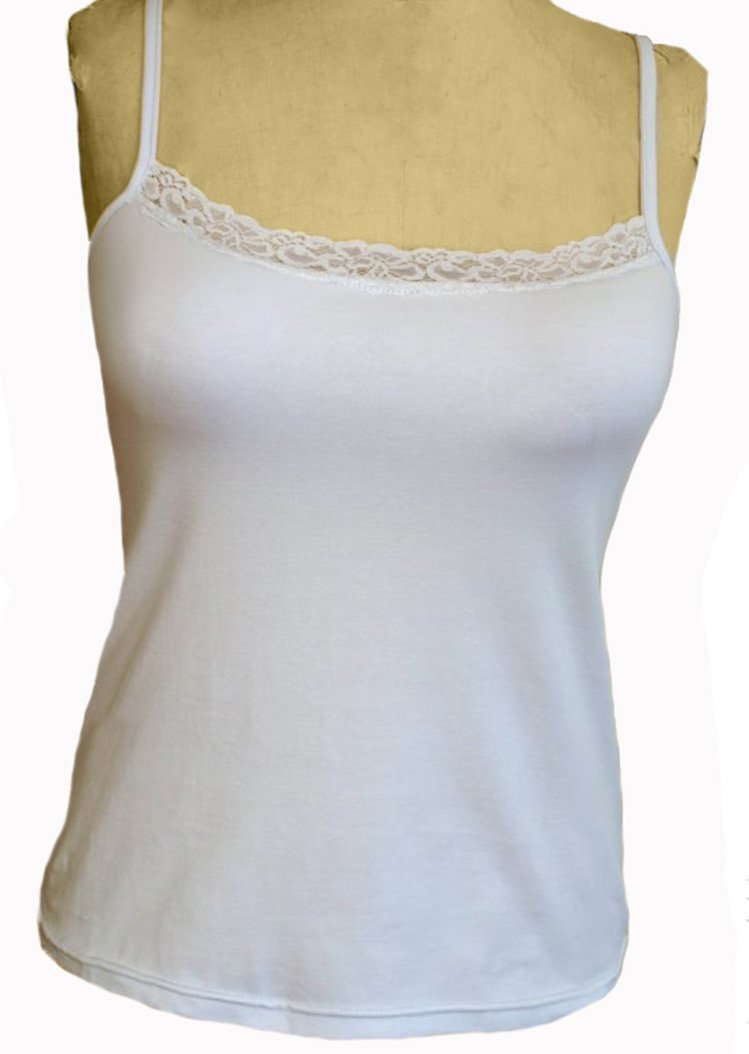 Primary image for Alessandra B Lace Trim Classic Camisole with Underwire Bra (42DD, White)