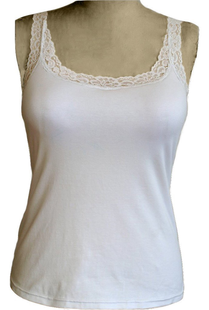 Primary image for Alessandra B Lace Trim Sport Tank Top With Underwire Bra (34B, White)