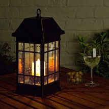 Solar Lantern LED Candle Light Mission Style Outdoor Patio Deck Garden D... - $63.70