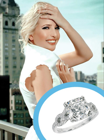 Primary image for Celebrity Ivanka Trump Style Cushion Cut CZ Engagement Ring In 14K White Gold Fn