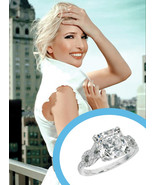 Celebrity Ivanka Trump Style Cushion Cut CZ Engagement Ring In 14K White Gold Fn - £67.86 GBP