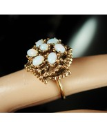 VINTAGE Opal Ring 14kt HGE signed ladies size 6 faux CLUSTER October bir... - $65.00