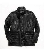 Authentic Coach F82400 Men's Black Leather Field Jacket Hidden Hoddie - ... - $249.00