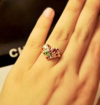 Colored Gems Heart Shape Cocktail Ring - $7.99