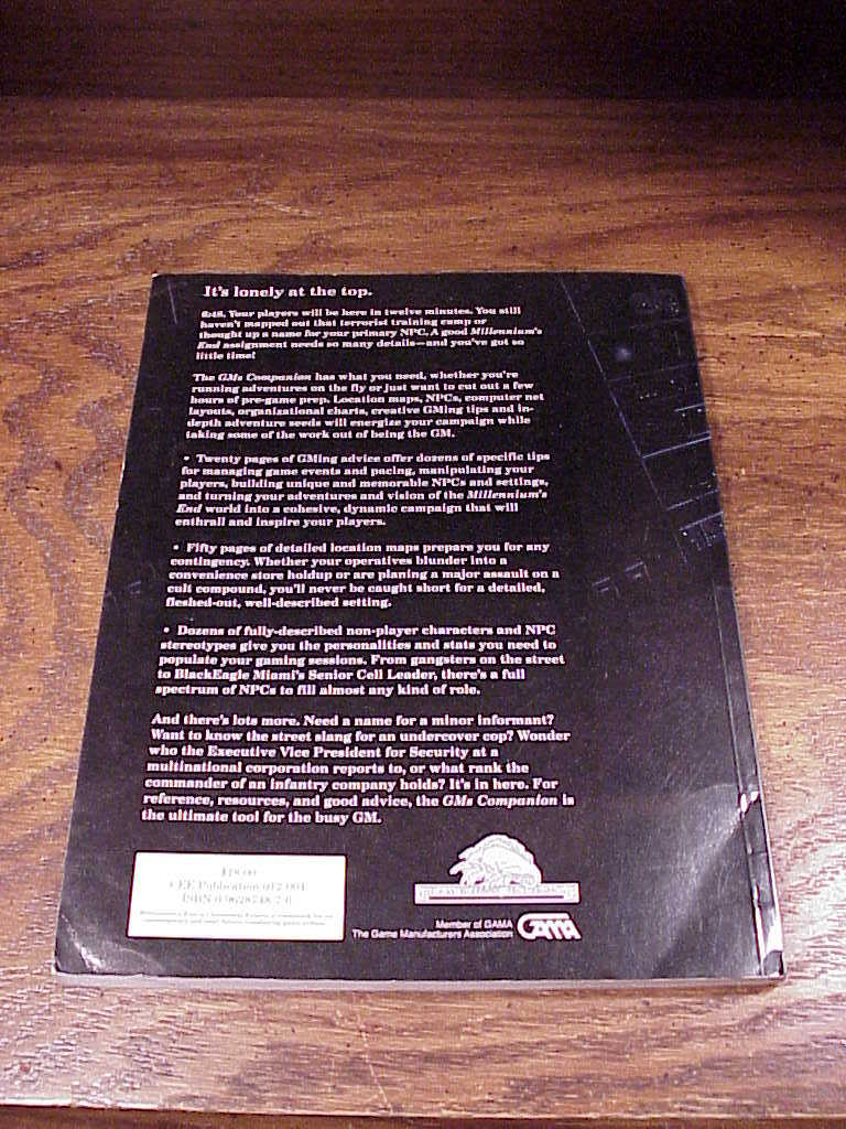 End GM's Companion Game Manual Book by Charles Ryan, Second Printing, GMing