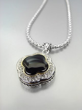 GORGEOUS Silver Black Onyx CZ Crystals Clover Pendant Box Chain Necklace  - €23,84 EUR