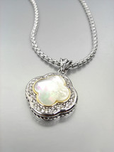 GORGEOUS Silver Mother of Pearl CZ Crystals Clover Pendant Box Chain Nec... - $27.99