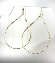 CHIC Lightweight Urban Anthropologie Gold Texture Oval Metal Dangle Earr... - $15.99