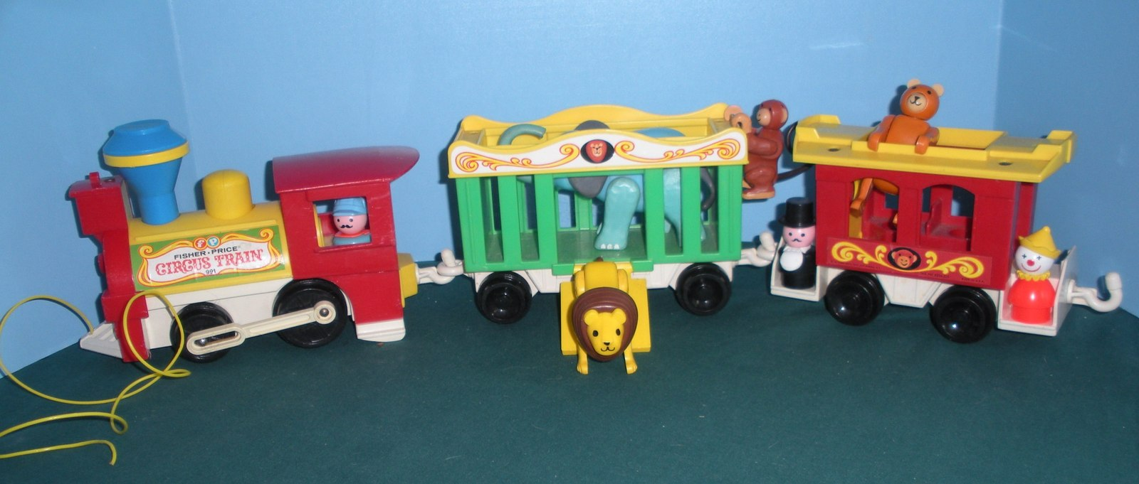 Vintage Fisher Price Play Family #991 3 Car Circus Train COMP/VG++--EXC! (P) image 6
