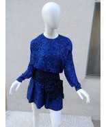 Jenna Leigh Romper Silk Blue and Black Animal Print 100 % Silk Sz- 6 - $70.81