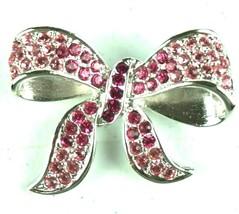 Vintage Jewelry Brooch Pink Ribbon Bow Rhinestone Silver Tone - $13.99