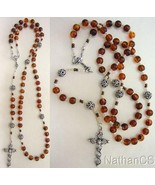 Catholic Rosary Prayer Beads Genuine Baltic Cognac Amber & Sterling Ster... - $153.45