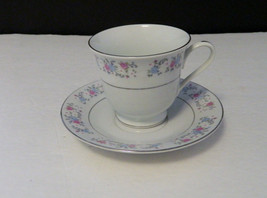 F.T.D.A. 1987 China Cup and Saucer Platinum Trim Pink and Blue Roses - $8.90