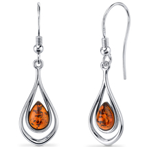 Sterling Silver Baltic Amber Dangle Earrings - $75.99