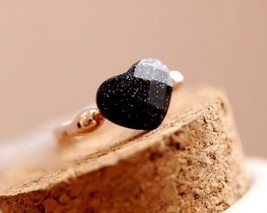 Obsidian Section Jelly Heart Cocktail Ring - $7.99