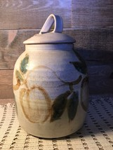 Large Pottery Cookie Jar with Cover Signed Flo Greig - $91.77