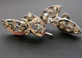 Vintage Krementz Rhinestone Leaf Earrings Screw Back Silver Tone Signed ... - $18.57