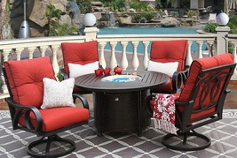 CHANNEL CAST ALUMINUM OUTDOOR PATIO 5PC DINING SET 50 Inch ROUND FIRETAB... - $4,831.20
