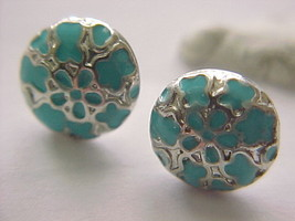 turqouis button earrings - $5.90