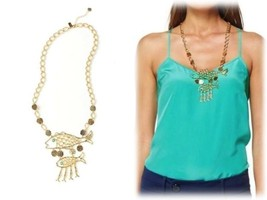 NWT $78 LILLY PULITZER MONTAUK NECKLACE GOLD METALLIC W/TURQUOISE BEAD A... - $1.076,06 MXN