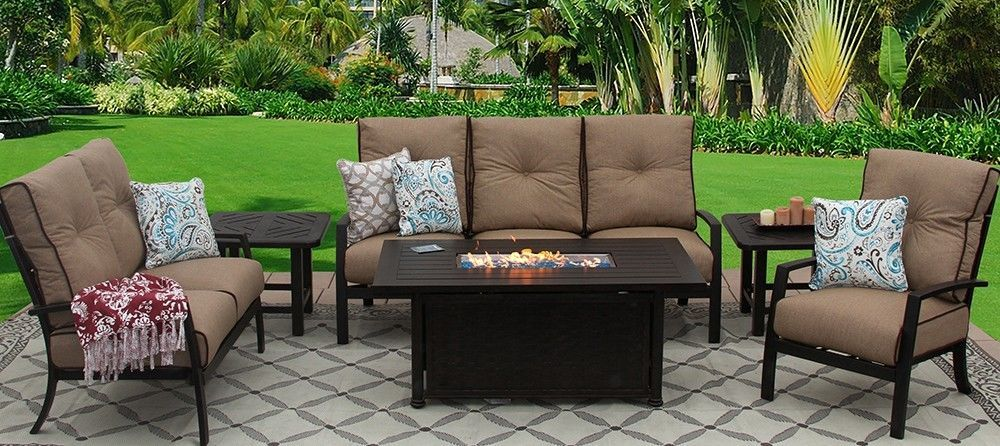 OUTDOOR PATIO 6PC SET SOFA, LOVESEAT, CLUB CHAIR, 2-END TABLES 34X58 RECTANGLE