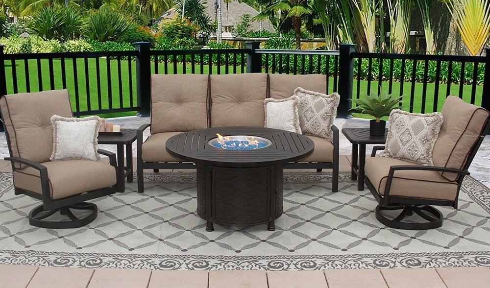 "OUTDOOR PATIO 6PC SOFA, 2-CLUB SWIVEL ROCKERS, 2-END TABLES 50"" ROUND FIRE TABLE"