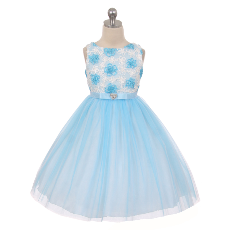 Blue Satin Ribbon Embroidered Tulle Flower Girl Dress Bridesmaid Birthday Party