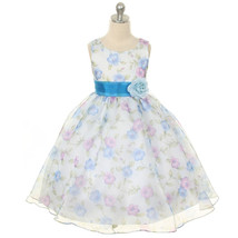 Blue Sheer Organza Floral Flower Girl Dresses Birthday Bridesmaid Pageant Party - $32.00