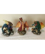 Dragon Statues Resin Figurines Skulls Blue Green Red Set Lot of 3 Collec... - $32.99