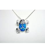 925 Sterling Silver Hawaiian Blue Opal Frog Cha... - $17.00