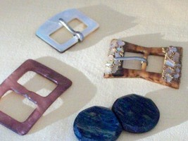 Highly Decorative Buckles of Mother of Pearl and Bakelite - $30.00