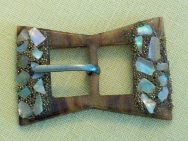 Highly Decorative Buckles of Mother of Pearl and Bakelite