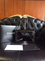 Authentic CHANEL Patent Leather Large Boy Flap Bag Black SHW NEW