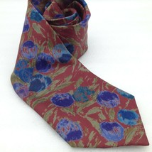Geoffrey Beene Tie Silk Blue Burgundy Abstract Design Mens Necktie 60 in - $7.76