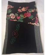 Fleur De Lis Black Floral Yarn Embroidered Boho Long Sweater Skirt XL Un... - $29.69