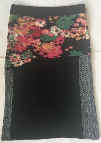 Fleur De Lis Black Floral Yarn Embroidered Boho Long Sweater Skirt XL Unique