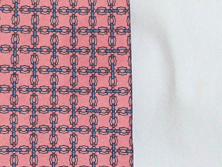 Vintage Necktie - Raspberry and Blue Cross Pattern Tie - - Silk - London - Vinta