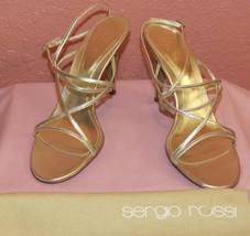 NIB  Sergio Rossi  Sz. 11 Gold Strappy ankle wrap Sandals - $125.00