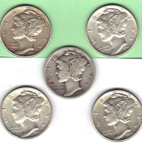 Five mercury dimes lot #3. the dates are 1926P,1941,1942,1943,1944.