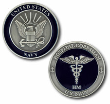 "NAVY HOSPITAL CORPSMAN CADUCEUS 1.75"" CHALLENGE COIN - $22.55"