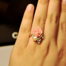 White Pearl & Rhinestone Pink Rose Shaped Women's Cocktail Ring - $7.99
