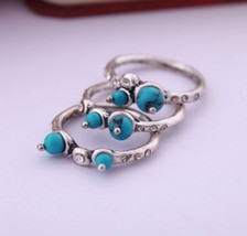 Vintage Blue Elves Turquoise Cocktail Ring Set for Women - $7.99