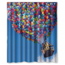 House a Thousand Colourful Ballons Shower Curtain Waterproof Made From Polyester - $29.07+